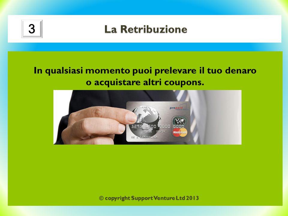 La Retribuzione In qualsiasi momento puoi prelevare il tuo denaro o acquistare altri coupons. 3 © copyright Support Venture Ltd 2013