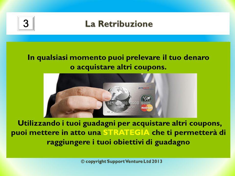La Retribuzione In qualsiasi momento puoi prelevare il tuo denaro o acquistare altri coupons. Utilizzando i tuoi guadagni per acquistare altri coupons
