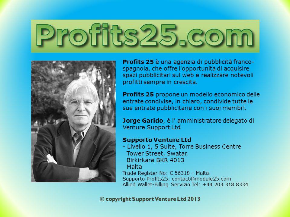 © copyright Support Venture Ltd 2013 Il progetto Profits 25 lanciato nell'agosto 2013, è frutto di esperienze di anni precedenti evolutesi, di successo in successo, aprendo sempre nuove frontiere.