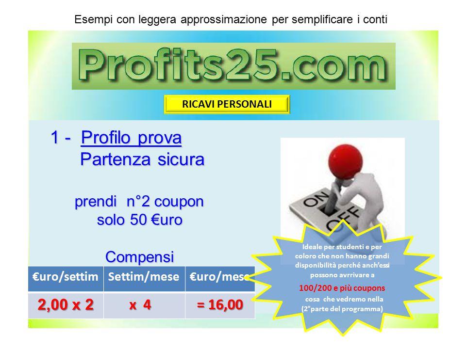 1 - Profilo prova Partenza sicura Partenza sicura prendi n°2 coupon solo 50 €uro Compensi €uro/settimSettim/mese€uro/mese 2,00 x 2 x 4 x 4 = 16,00 Ese