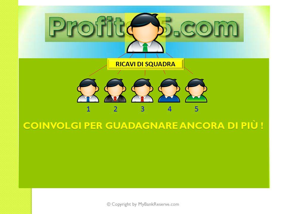© Copyright by MyBankReserve.com 12345 RICAVI DI SQUADRA COINVOLGI PER GUADAGNARE ANCORA DI PIÙ !