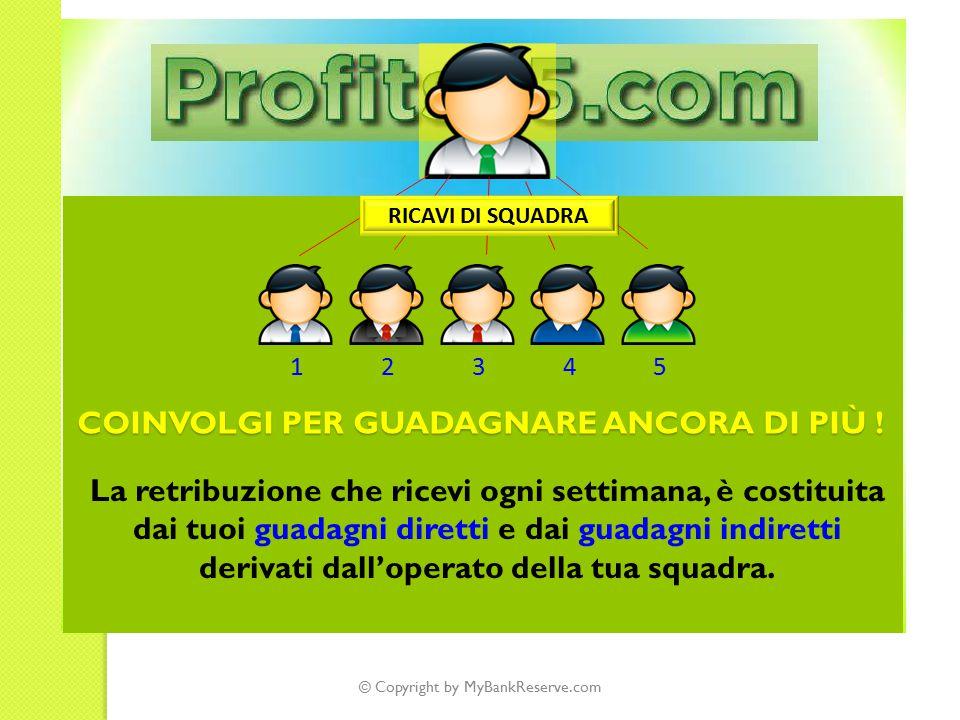 © Copyright by MyBankReserve.com 12345 RICAVI DI SQUADRA COINVOLGI PER GUADAGNARE ANCORA DI PIÙ .