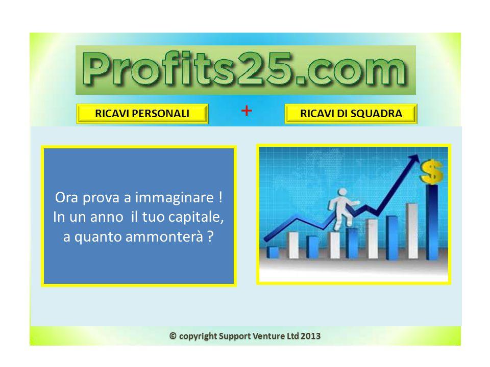 Ora prova a immaginare ! In un anno il tuo capitale, a quanto ammonterà ? RICAVI PERSONALI RICAVI DI SQUADRA + © copyright Support Venture Ltd 2013