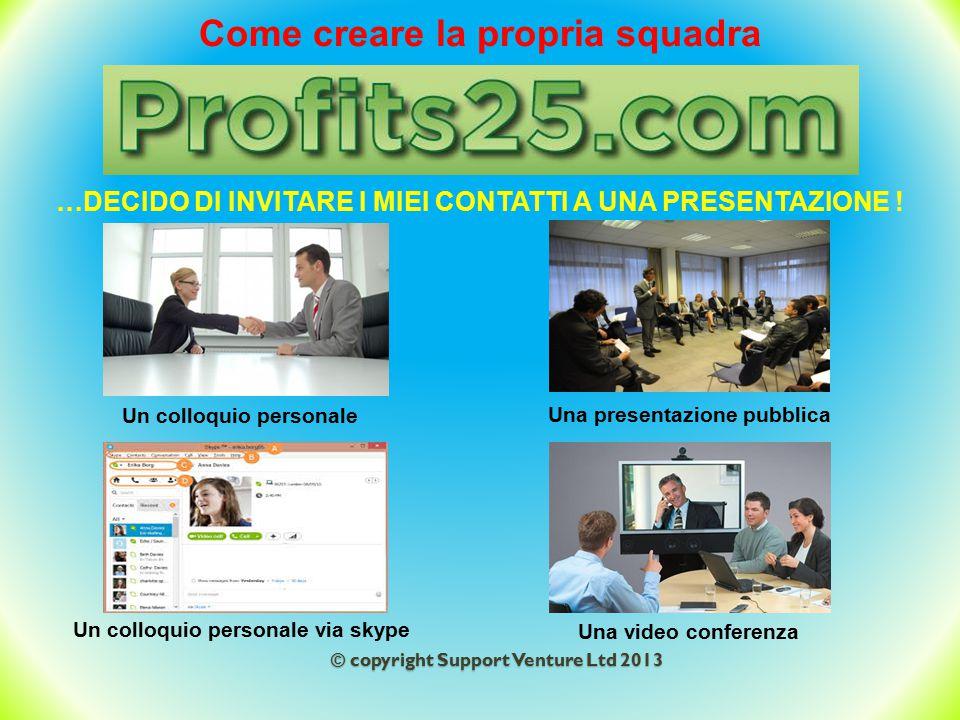 © copyright Support Venture Ltd 2013 Come creare la propria squadra …DECIDO DI INVITARE I MIEI CONTATTI A UNA PRESENTAZIONE ! Un colloquio personale U