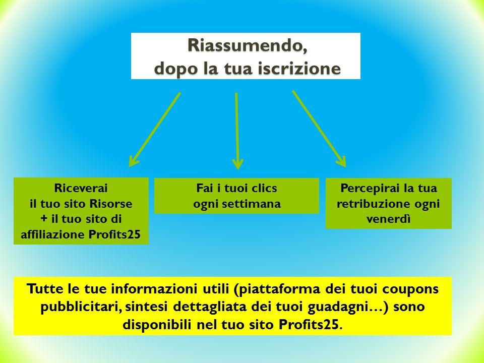 Riceverai il tuo sito Risorse + il tuo sito di affiliazione Profits25 Fai i tuoi clics ogni settimana Percepirai la tua retribuzione ogni venerdì Rias
