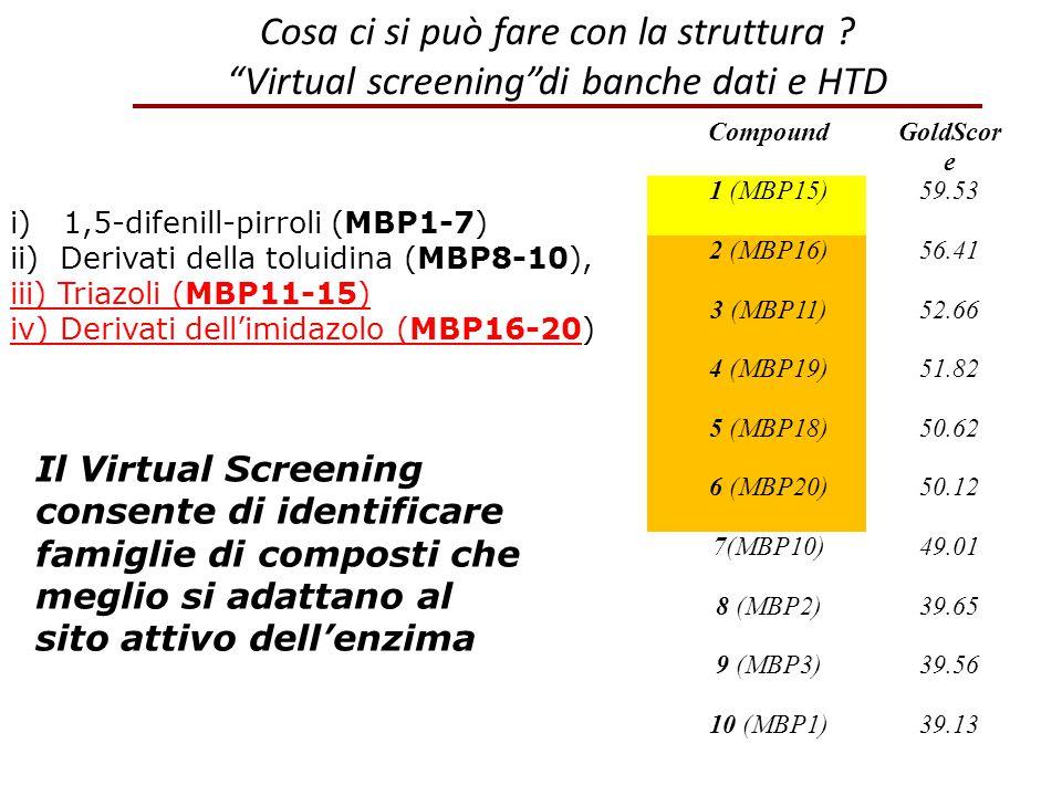 """Cosa ci si può fare con la struttura ? """"Virtual screening""""di banche dati e HTD CompoundGoldScor e 1 (MBP15)59.53 2 (MBP16)56.41 3 (MBP11)52.66 4 (MBP1"""