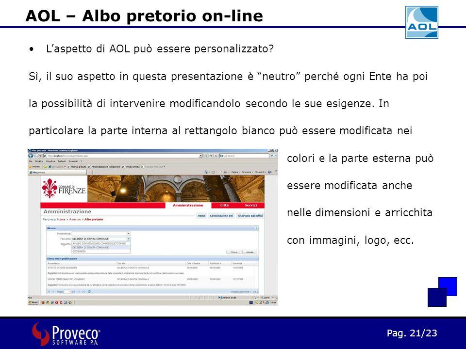 Pag. 21/23 AOL – Albo pretorio on-line L'aspetto di AOL può essere personalizzato.