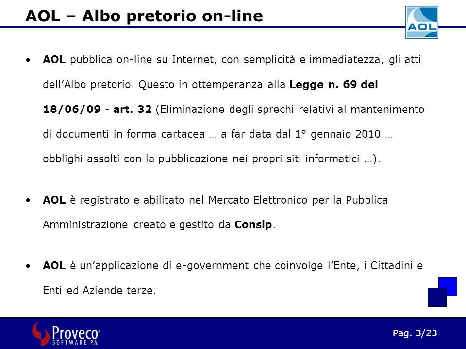 Pag. 3/23 AOL pubblica on-line su Internet, con semplicità e immediatezza, gli atti dell'Albo pretorio. Questo in ottemperanza alla Legge n. 69 del 18