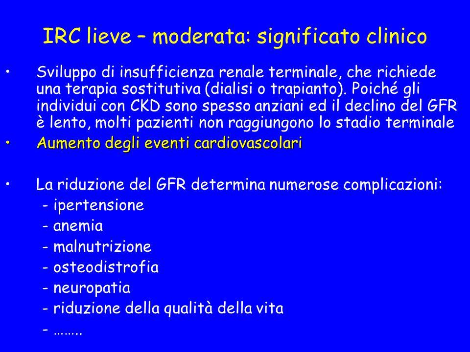 IRC lieve – moderata: significato clinico Sviluppo di insufficienza renale terminale, che richiede una terapia sostitutiva (dialisi o trapianto).
