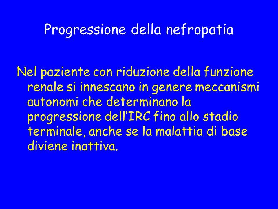 Progressione della nefropatia Nel paziente con riduzione della funzione renale si innescano in genere meccanismi autonomi che determinano la progressi