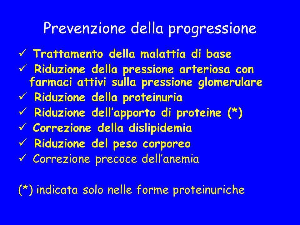 Prevenzione della progressione Trattamento della malattia di base Riduzione della pressione arteriosa con farmaci attivi sulla pressione glomerulare R