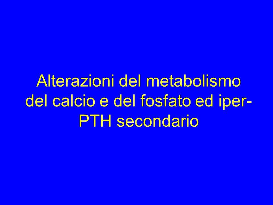 Alterazioni del metabolismo del calcio e del fosfato ed iper- PTH secondario
