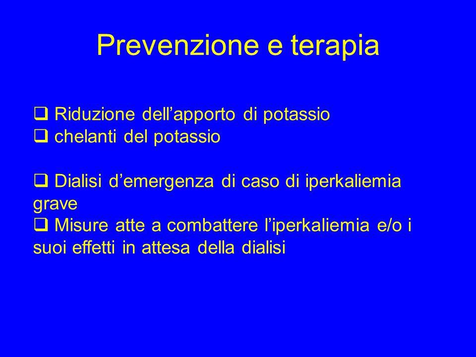 Prevenzione e terapia  Riduzione dell'apporto di potassio  chelanti del potassio  Dialisi d'emergenza di caso di iperkaliemia grave  Misure atte a combattere l'iperkaliemia e/o i suoi effetti in attesa della dialisi