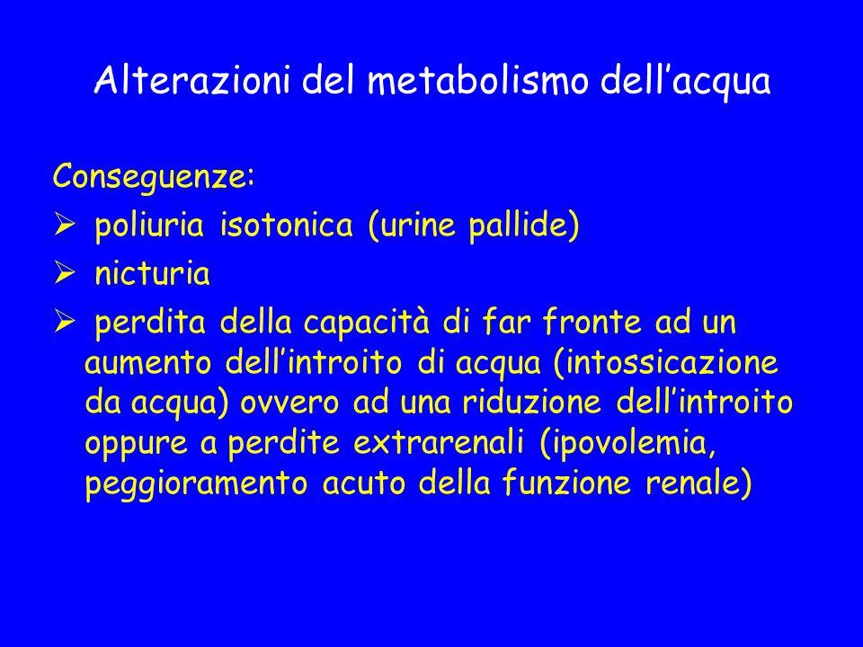 Alterazioni del metabolismo dell'acqua Conseguenze:  poliuria isotonica (urine pallide)  nicturia  perdita della capacità di far fronte ad un aumen