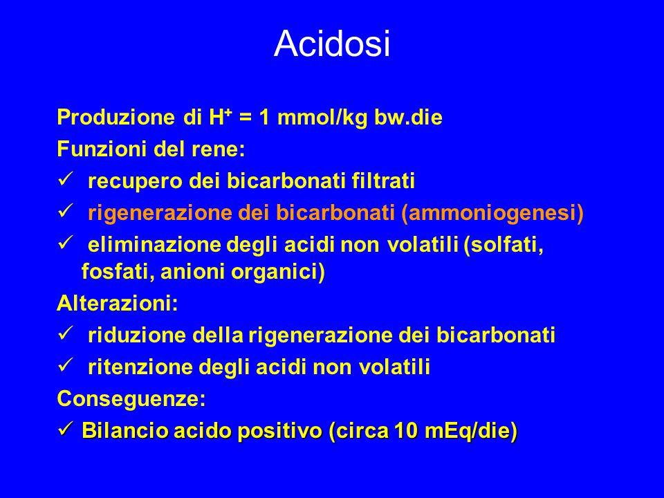 Acidosi Produzione di H + = 1 mmol/kg bw.die Funzioni del rene: recupero dei bicarbonati filtrati rigenerazione dei bicarbonati (ammoniogenesi) eliminazione degli acidi non volatili (solfati, fosfati, anioni organici) Alterazioni: riduzione della rigenerazione dei bicarbonati ritenzione degli acidi non volatili Conseguenze: Bilancio acido positivo (circa 10 mEq/die) Bilancio acido positivo (circa 10 mEq/die)