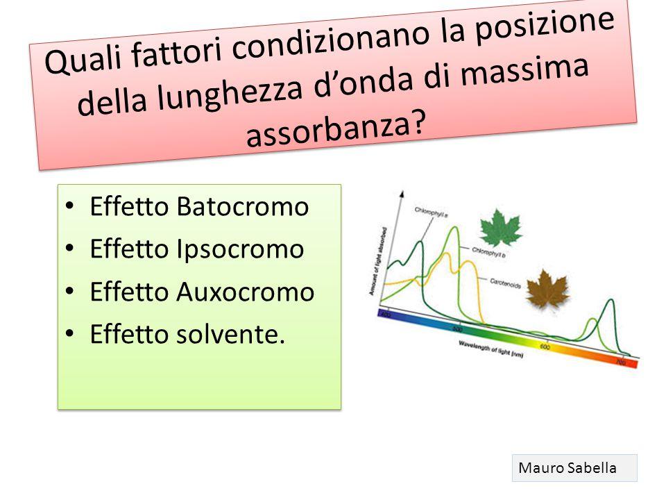 Quali fattori condizionano la posizione della lunghezza d'onda di massima assorbanza? Effetto Batocromo Effetto Ipsocromo Effetto Auxocromo Effetto so