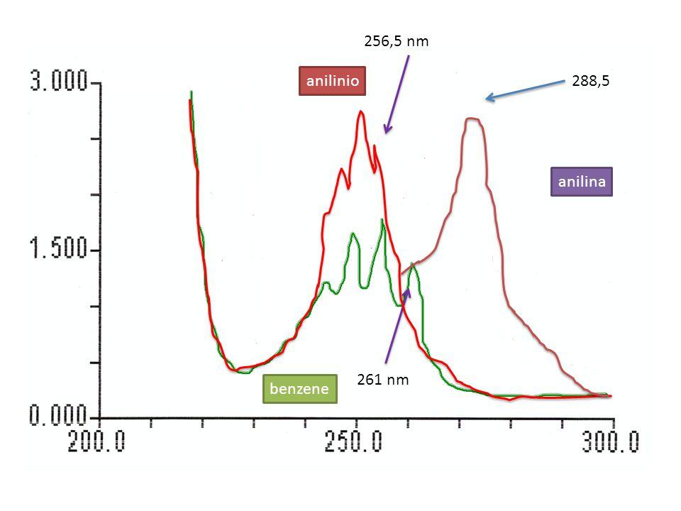 256,5 nm 261 nm anilinio benzene anilina 288,5