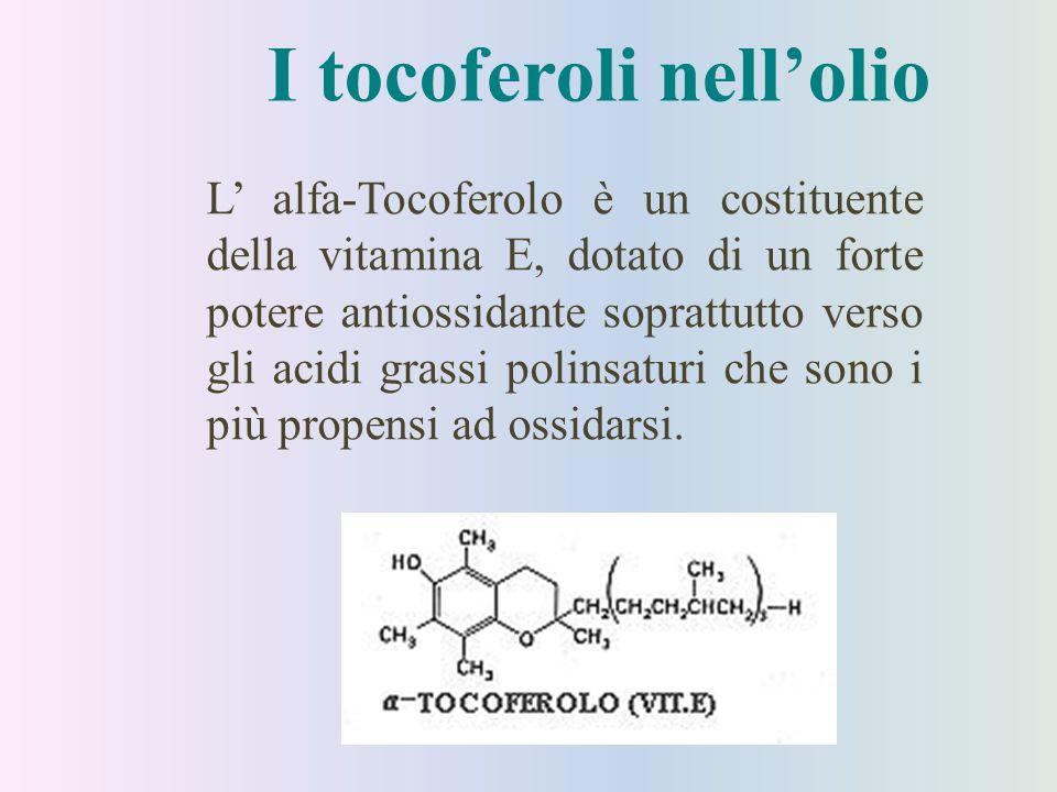 I tocoferoli nell'olio L' alfa-Tocoferolo è un costituente della vitamina E, dotato di un forte potere antiossidante soprattutto verso gli acidi grass