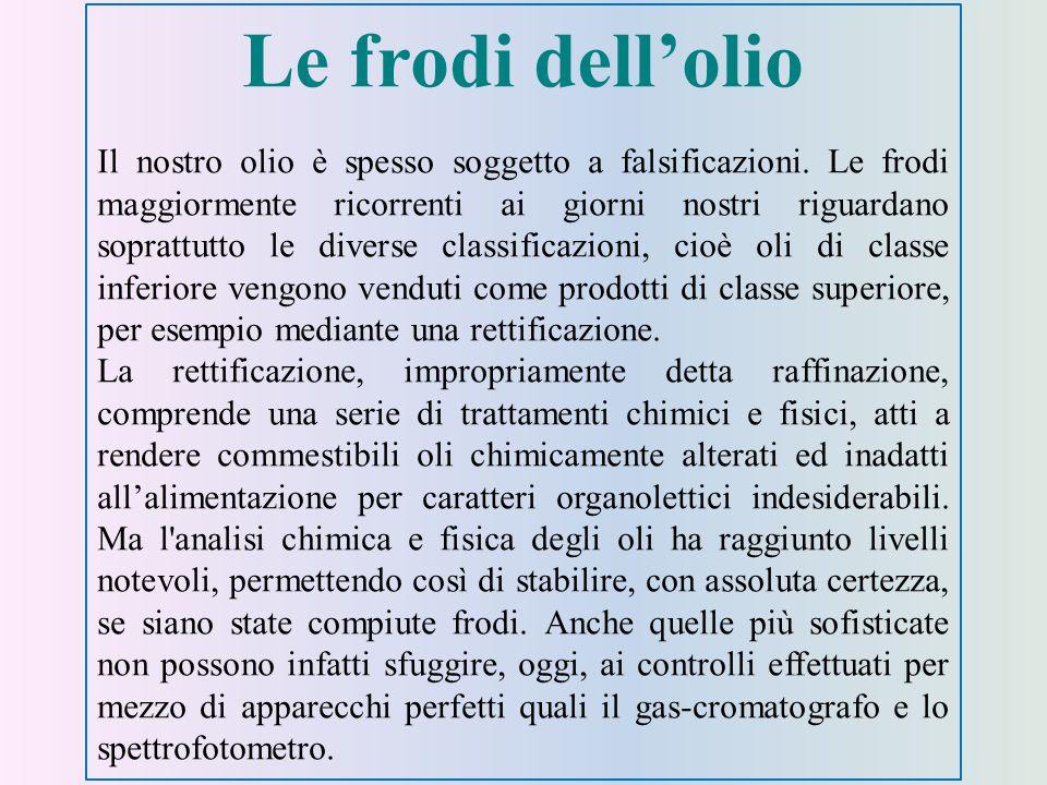 Le frodi dell'olio Il nostro olio è spesso soggetto a falsificazioni.