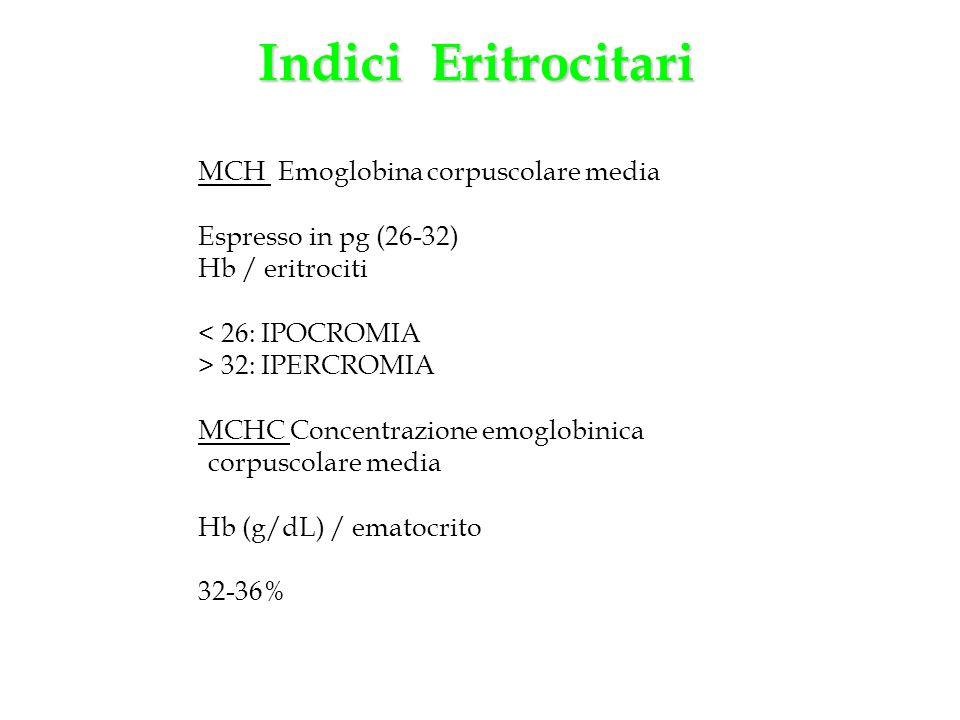 MCH Emoglobina corpuscolare media Espresso in pg (26-32) Hb / eritrociti < 26: IPOCROMIA > 32: IPERCROMIA MCHC Concentrazione emoglobinica corpuscolar