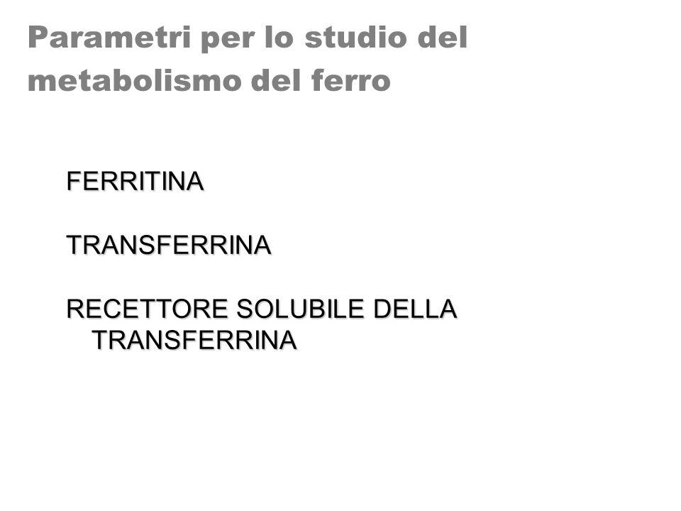 Parametri per lo studio del metabolismo del ferro FERRITINATRANSFERRINA RECETTORE SOLUBILE DELLA TRANSFERRINA