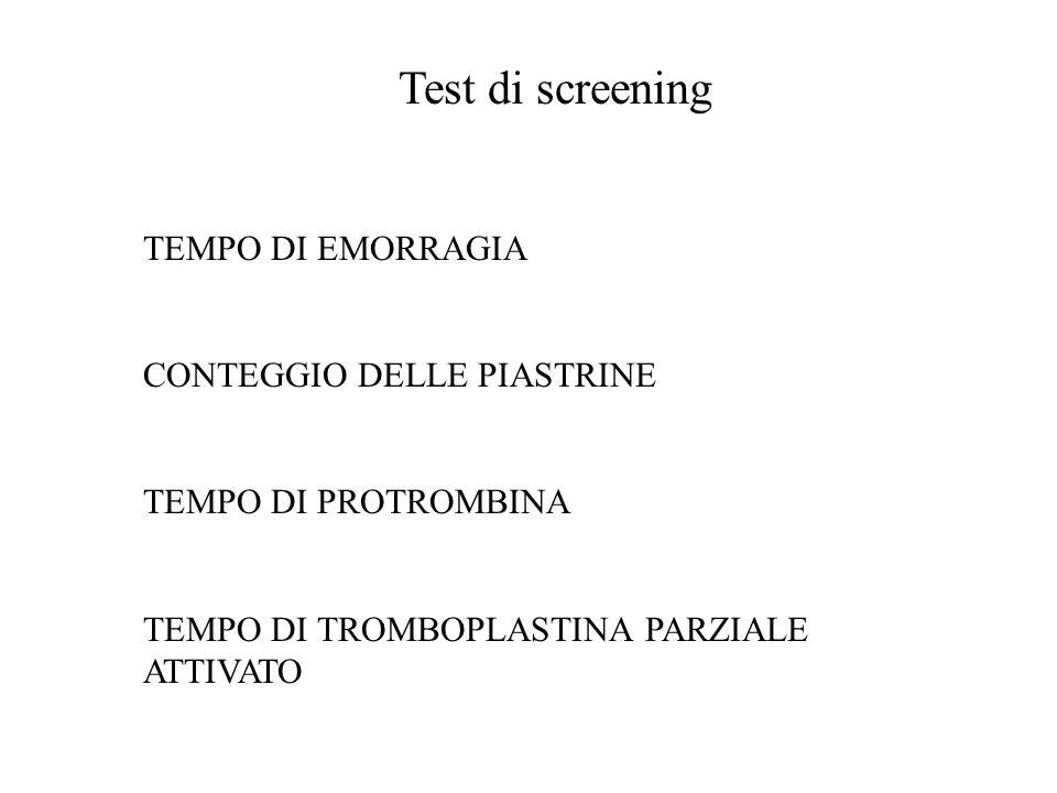 Test di screening TEMPO DI EMORRAGIA CONTEGGIO DELLE PIASTRINE TEMPO DI PROTROMBINA TEMPO DI TROMBOPLASTINA PARZIALE ATTIVATO
