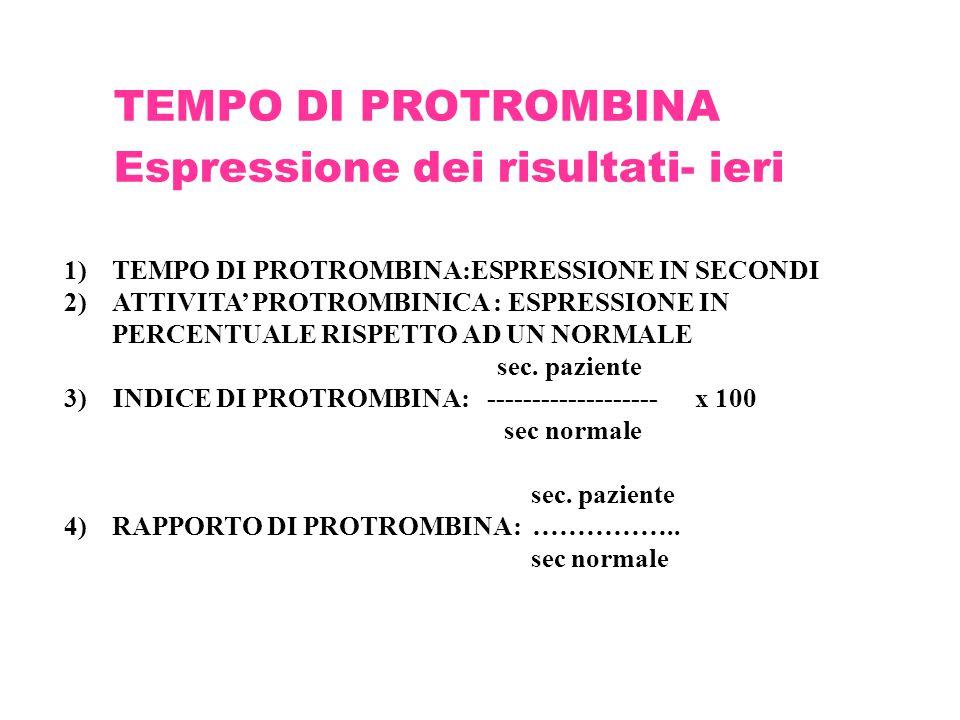 TEMPO DI PROTROMBINA Espressione dei risultati- ieri 1)TEMPO DI PROTROMBINA:ESPRESSIONE IN SECONDI 2)ATTIVITA' PROTROMBINICA : ESPRESSIONE IN PERCENTU
