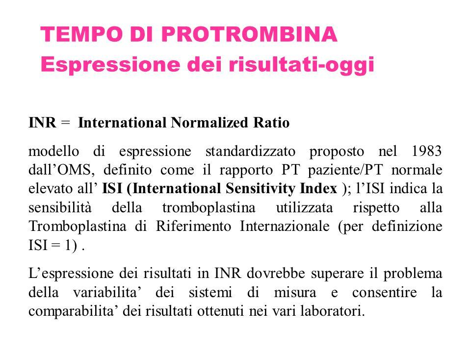 TEMPO DI PROTROMBINA Espressione dei risultati-oggi INR = International Normalized Ratio modello di espressione standardizzato proposto nel 1983 dall'