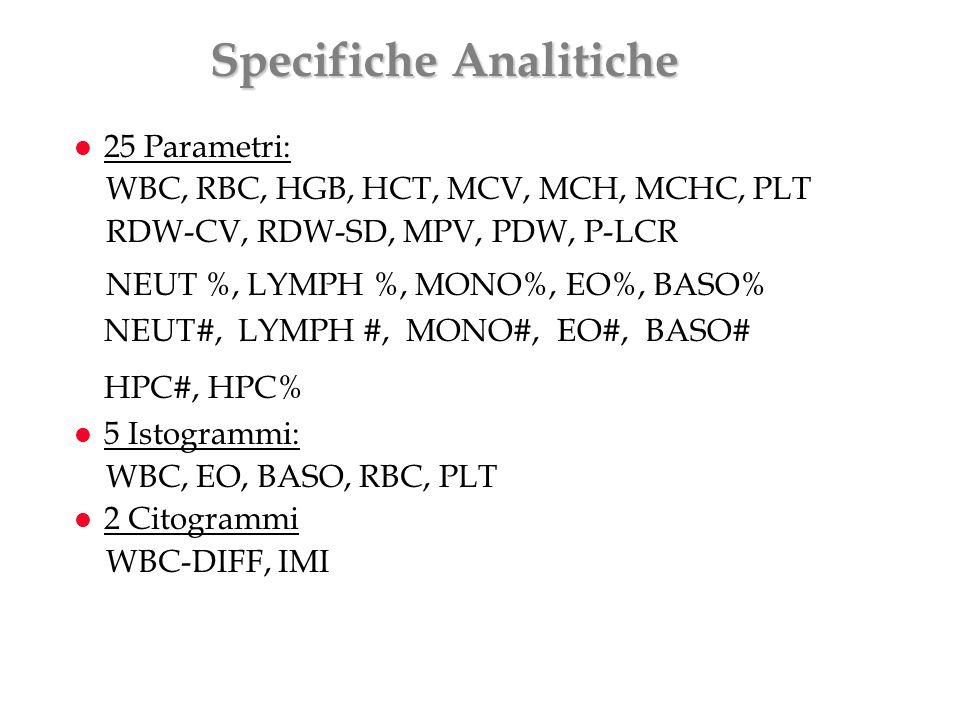 Specifiche Analitiche l 25 Parametri: WBC, RBC, HGB, HCT, MCV, MCH, MCHC, PLT RDW-CV, RDW-SD, MPV, PDW, P-LCR NEUT %, LYMPH %, MONO%, EO%, BASO% NEUT#