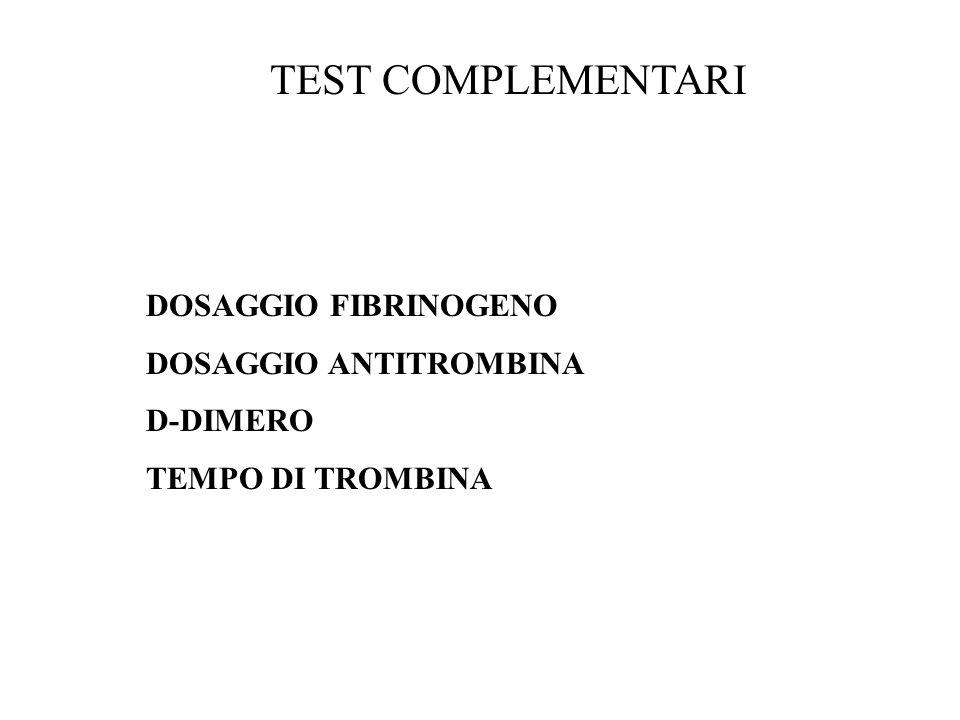 TEST COMPLEMENTARI DOSAGGIO FIBRINOGENO DOSAGGIO ANTITROMBINA D-DIMERO TEMPO DI TROMBINA