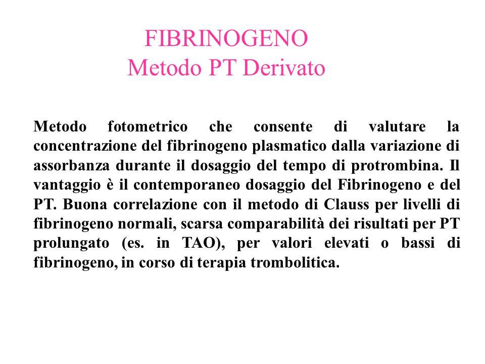 FIBRINOGENO Metodo PT Derivato Metodo fotometrico che consente di valutare la concentrazione del fibrinogeno plasmatico dalla variazione di assorbanza