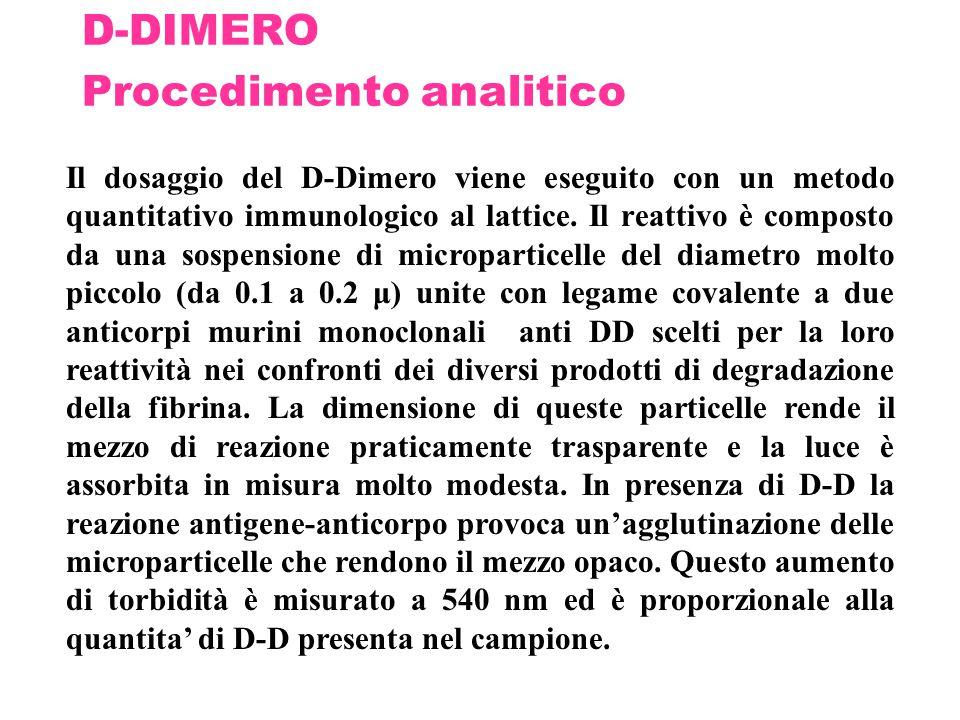 D-DIMERO Procedimento analitico Il dosaggio del D-Dimero viene eseguito con un metodo quantitativo immunologico al lattice. Il reattivo è composto da