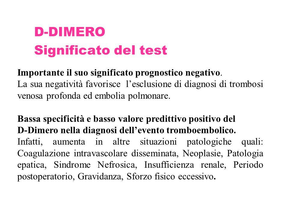 D-DIMERO Significato del test Importante il suo significato prognostico negativo. La sua negatività favorisce l'esclusione di diagnosi di trombosi ven