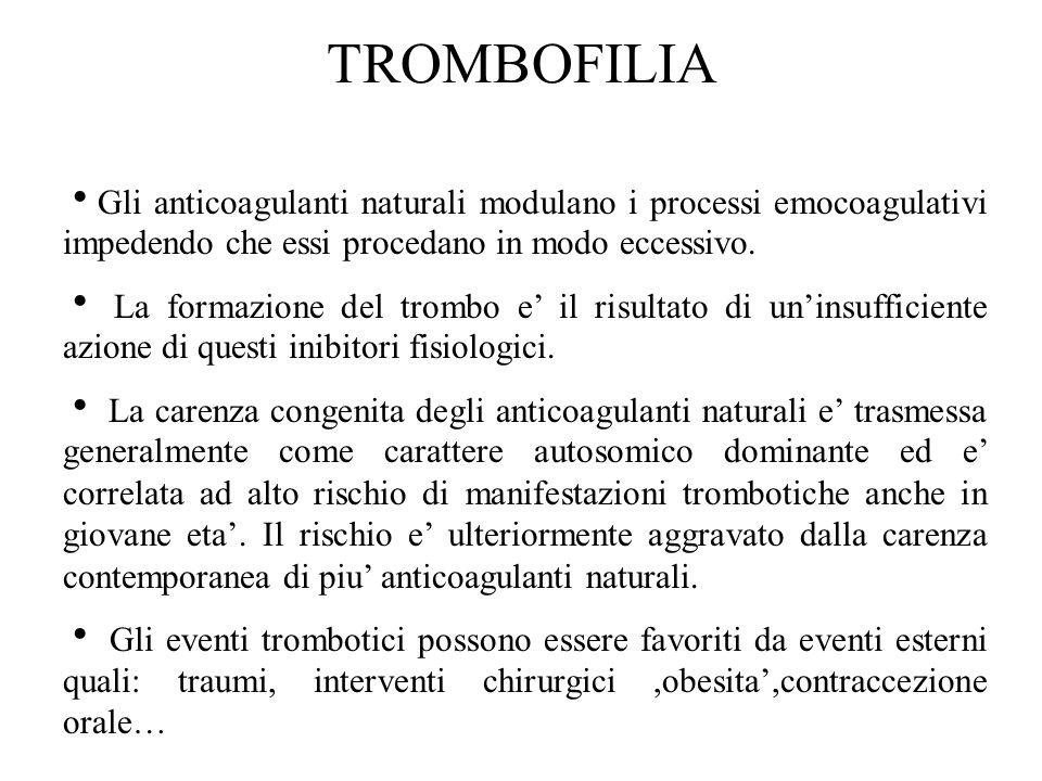 TROMBOFILIA  Gli anticoagulanti naturali modulano i processi emocoagulativi impedendo che essi procedano in modo eccessivo.  La formazione del tromb