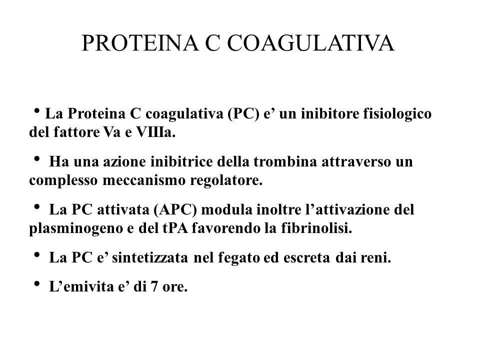 PROTEINA C COAGULATIVA  La Proteina C coagulativa (PC) e' un inibitore fisiologico del fattore Va e VIIIa.  Ha una azione inibitrice della trombina
