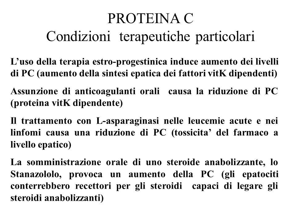 PROTEINA C Condizioni terapeutiche particolari L'uso della terapia estro-progestinica induce aumento dei livelli di PC (aumento della sintesi epatica
