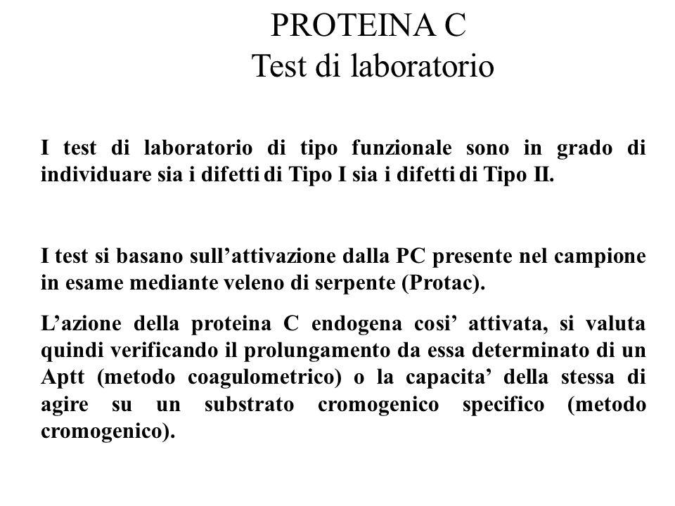 PROTEINA C Test di laboratorio I test di laboratorio di tipo funzionale sono in grado di individuare sia i difetti di Tipo I sia i difetti di Tipo II.