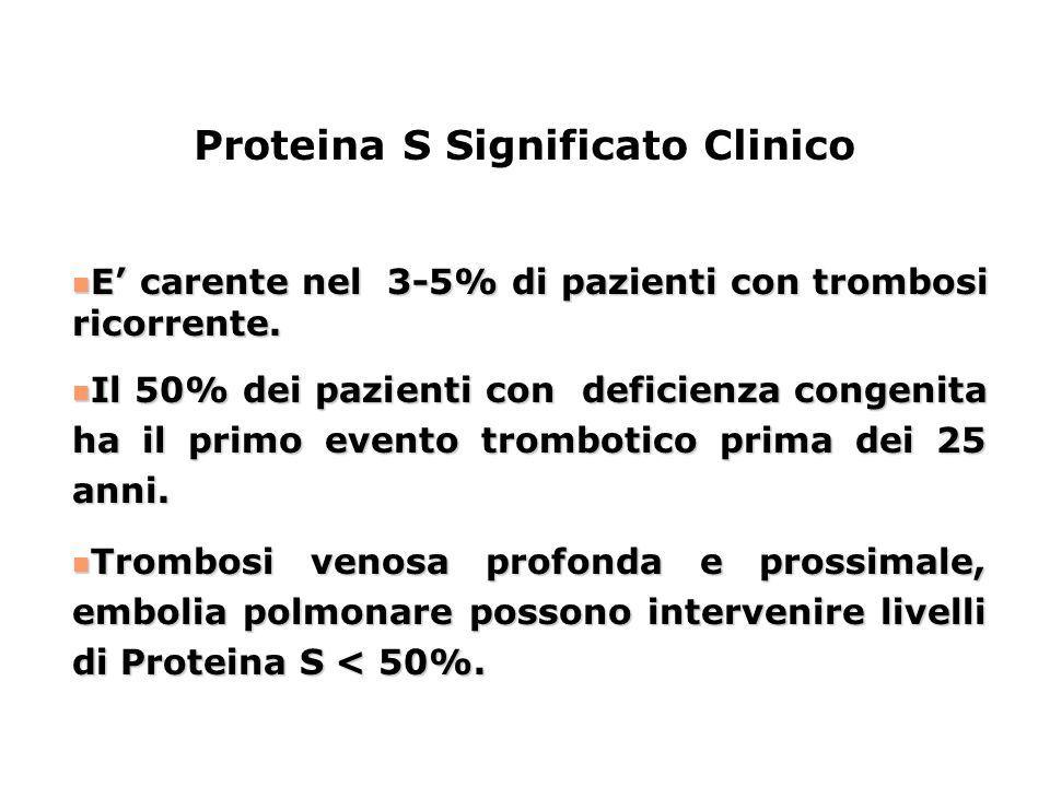 E' carente nel 3-5% di pazienti con trombosi ricorrente. E' carente nel 3-5% di pazienti con trombosi ricorrente. Il 50% dei pazienti con deficienza c
