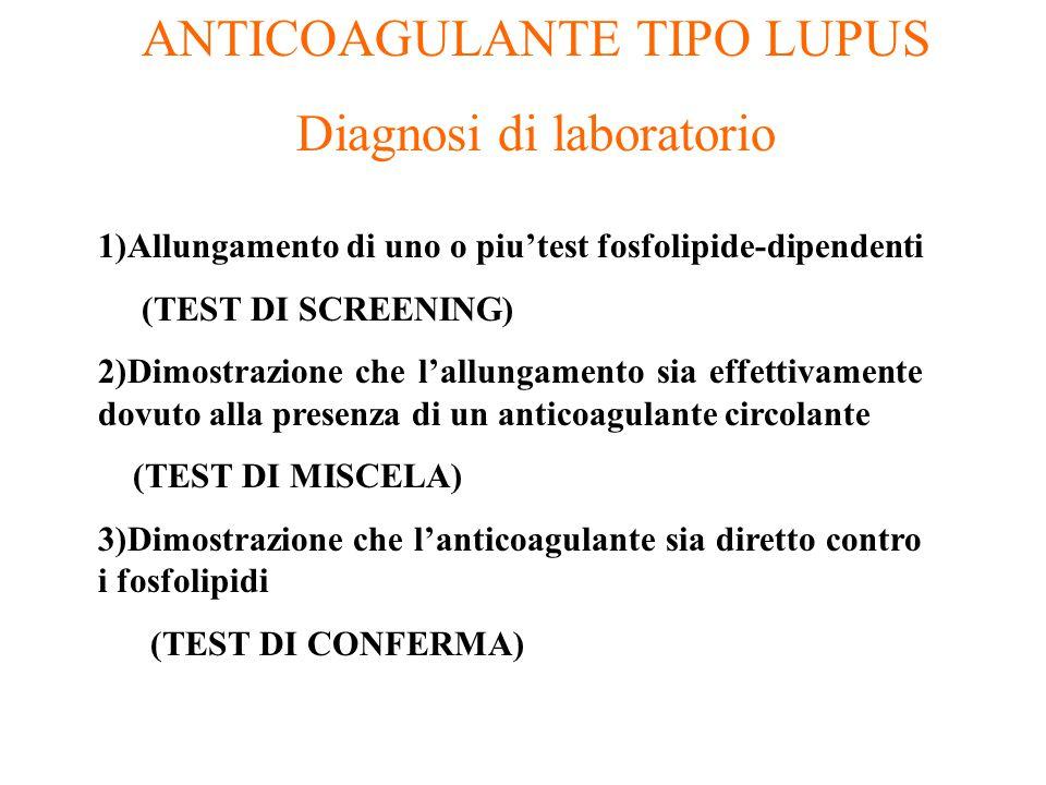 ANTICOAGULANTE TIPO LUPUS Diagnosi di laboratorio 1)Allungamento di uno o piu'test fosfolipide-dipendenti (TEST DI SCREENING) 2)Dimostrazione che l'al