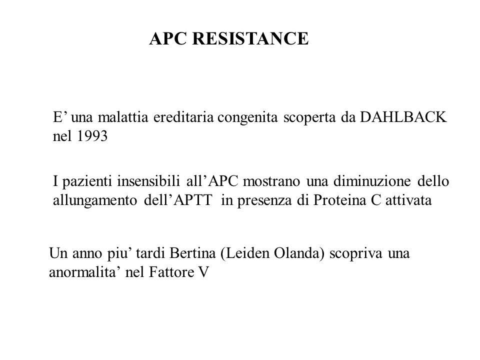 APC RESISTANCE E' una malattia ereditaria congenita scoperta da DAHLBACK nel 1993 I pazienti insensibili all'APC mostrano una diminuzione dello allung