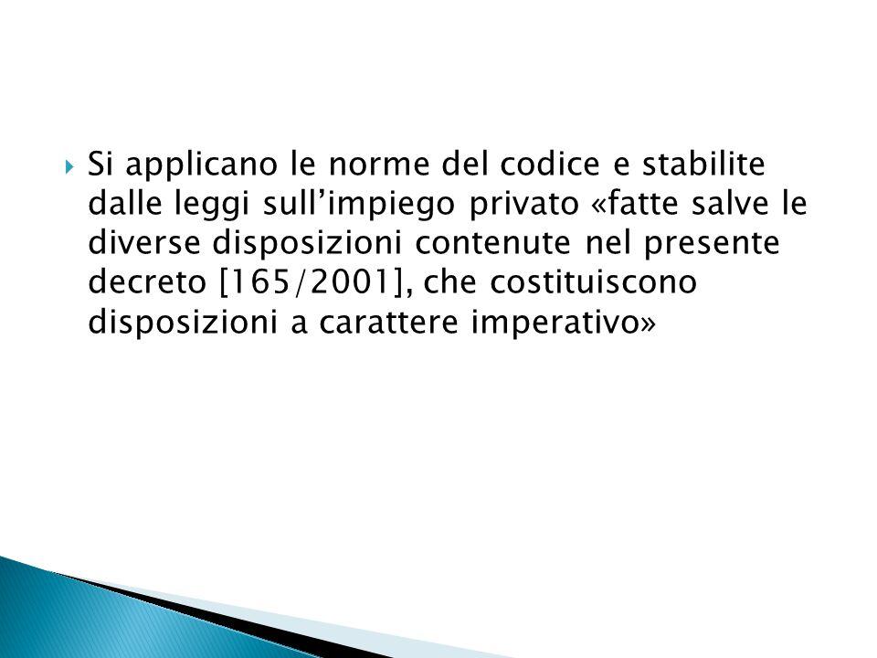  Si applicano le norme del codice e stabilite dalle leggi sull'impiego privato «fatte salve le diverse disposizioni contenute nel presente decreto [1