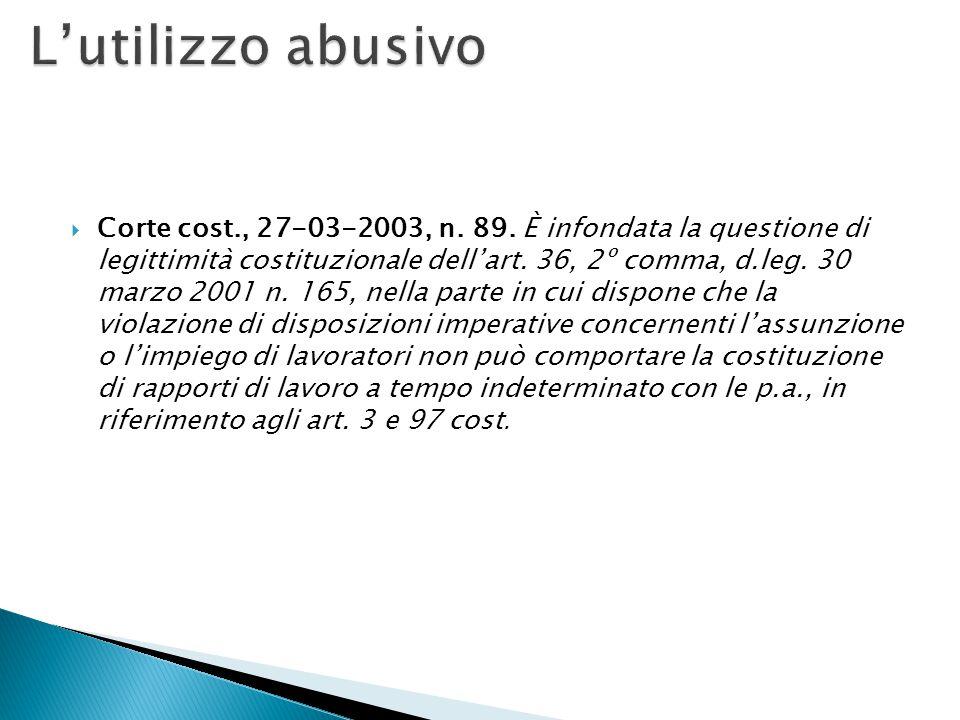  Corte cost., 27-03-2003, n. 89. È infondata la questione di legittimità costituzionale dell'art. 36, 2º comma, d.leg. 30 marzo 2001 n. 165, nella pa
