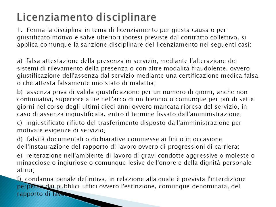 1. Ferma la disciplina in tema di licenziamento per giusta causa o per giustificato motivo e salve ulteriori ipotesi previste dal contratto collettivo