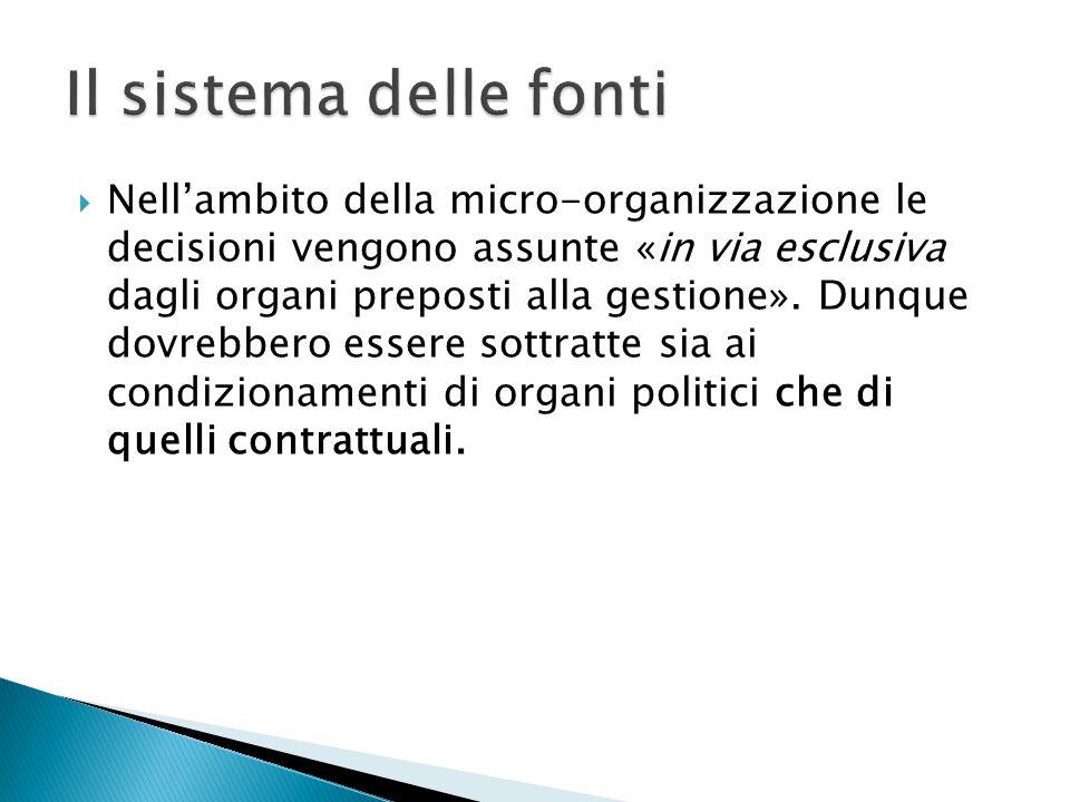  Nell'ambito della micro-organizzazione le decisioni vengono assunte «in via esclusiva dagli organi preposti alla gestione». Dunque dovrebbero essere