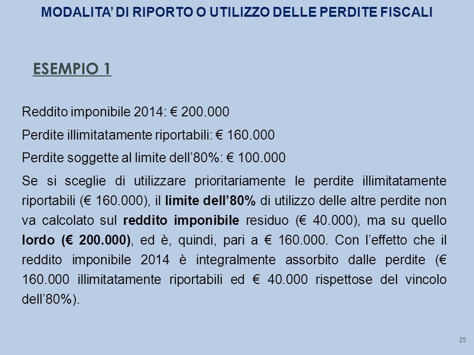 25 ESEMPIO 1 Reddito imponibile 2014: € 200.000 Perdite illimitatamente riportabili: € 160.000 Perdite soggette al limite dell'80%: € 100.000 Se si sceglie di utilizzare prioritariamente le perdite illimitatamente riportabili (€ 160.000), il limite dell'80% di utilizzo delle altre perdite non va calcolato sul reddito imponibile residuo (€ 40.000), ma su quello lordo (€ 200.000), ed è, quindi, pari a € 160.000.