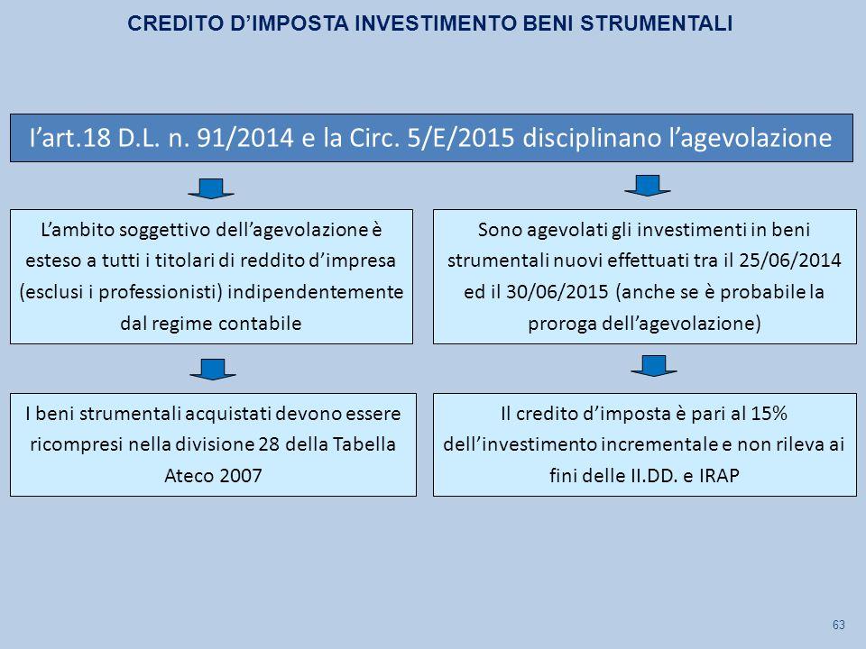 63 L'ambito soggettivo dell'agevolazione è esteso a tutti i titolari di reddito d'impresa (esclusi i professionisti) indipendentemente dal regime contabile Sono agevolati gli investimenti in beni strumentali nuovi effettuati tra il 25/06/2014 ed il 30/06/2015 (anche se è probabile la proroga dell'agevolazione) I beni strumentali acquistati devono essere ricompresi nella divisione 28 della Tabella Ateco 2007 CREDITO D'IMPOSTA INVESTIMENTO BENI STRUMENTALI I'art.18 D.L.