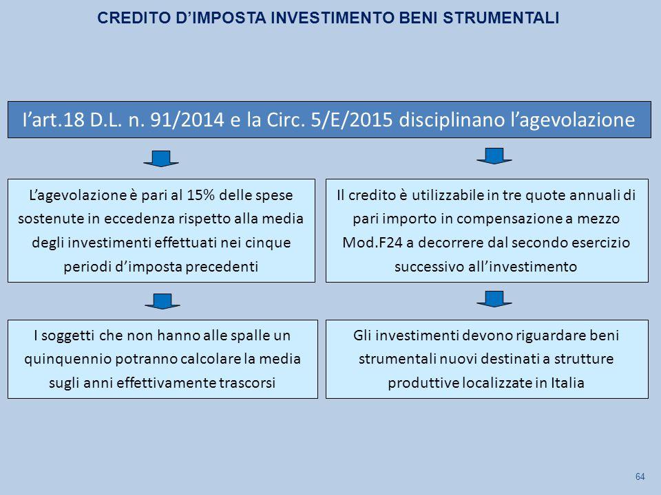 64 L'agevolazione è pari al 15% delle spese sostenute in eccedenza rispetto alla media degli investimenti effettuati nei cinque periodi d'imposta prec