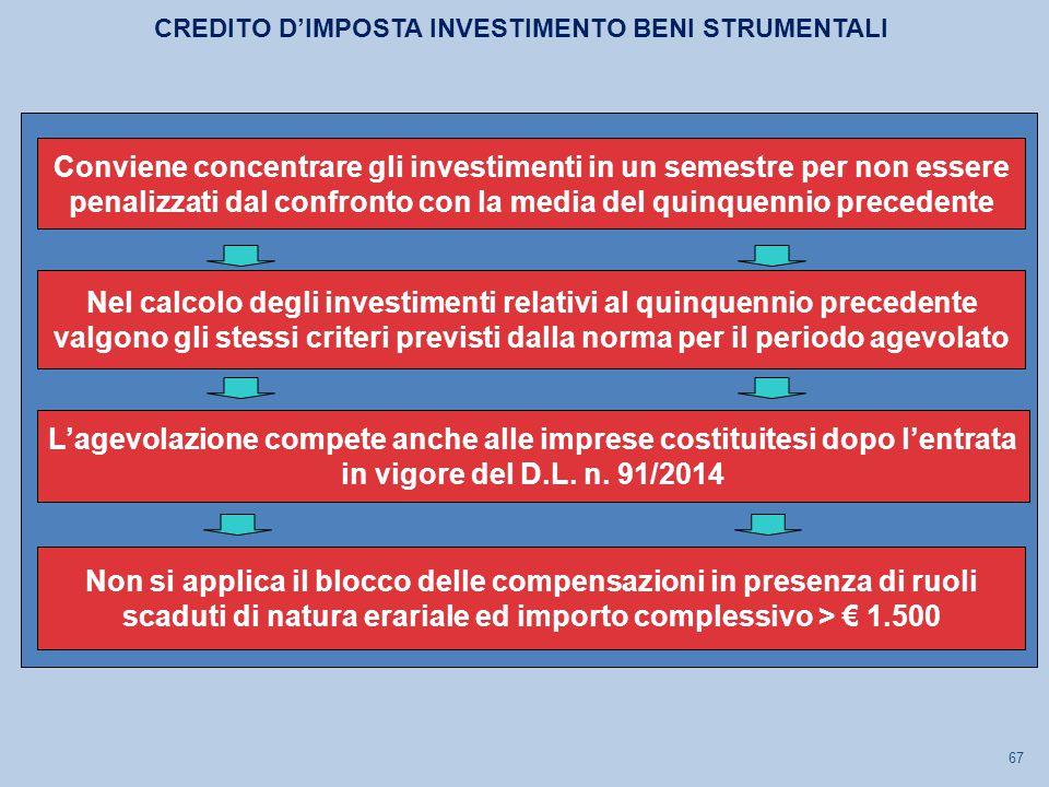 67 Nel calcolo degli investimenti relativi al quinquennio precedente valgono gli stessi criteri previsti dalla norma per il periodo agevolato L'agevolazione compete anche alle imprese costituitesi dopo l'entrata in vigore del D.L.