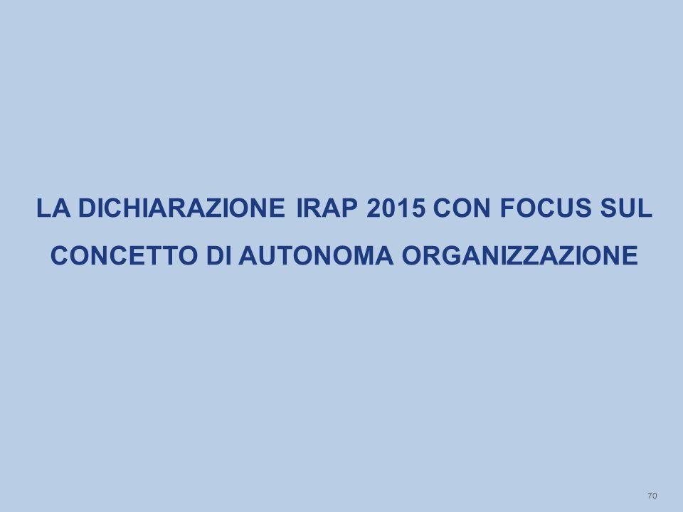 LA DICHIARAZIONE IRAP 2015 CON FOCUS SUL CONCETTO DI AUTONOMA ORGANIZZAZIONE 70