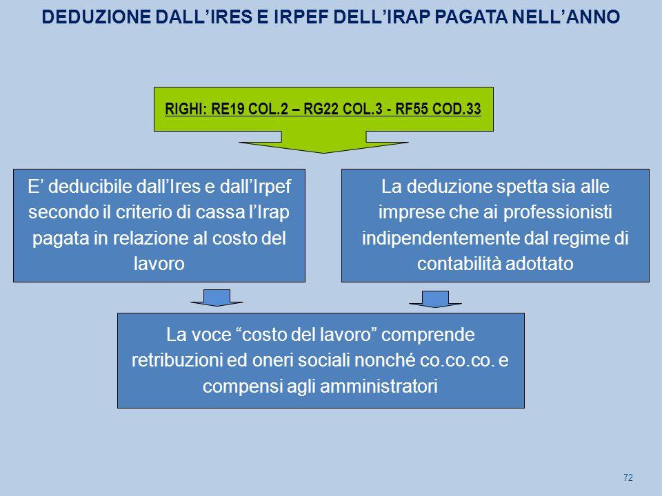 72 E' deducibile dall'Ires e dall'Irpef secondo il criterio di cassa l'Irap pagata in relazione al costo del lavoro La deduzione spetta sia alle impre